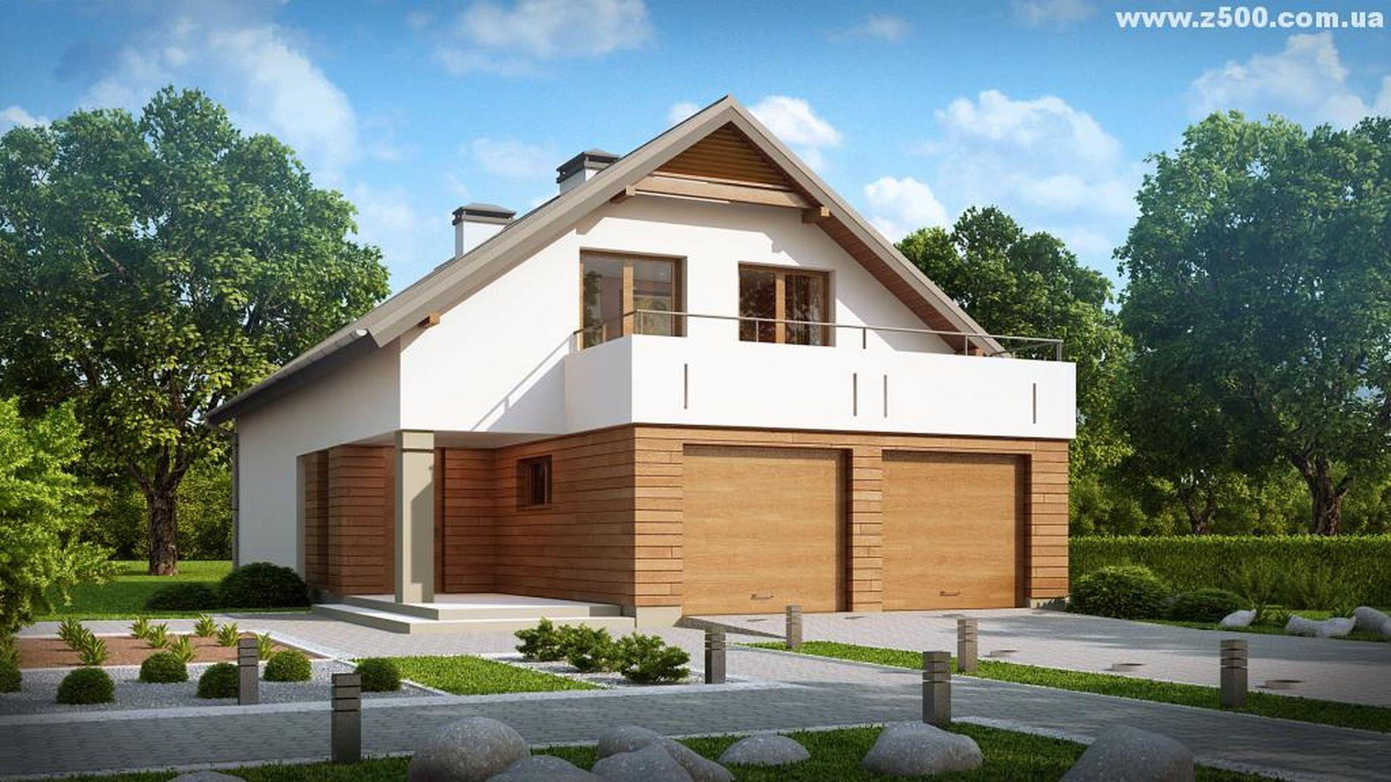 Проект двухэтажного дома с террасой над гаражом.